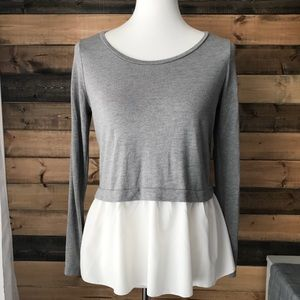 GAP gray & white layered hem long sleeve top, XS